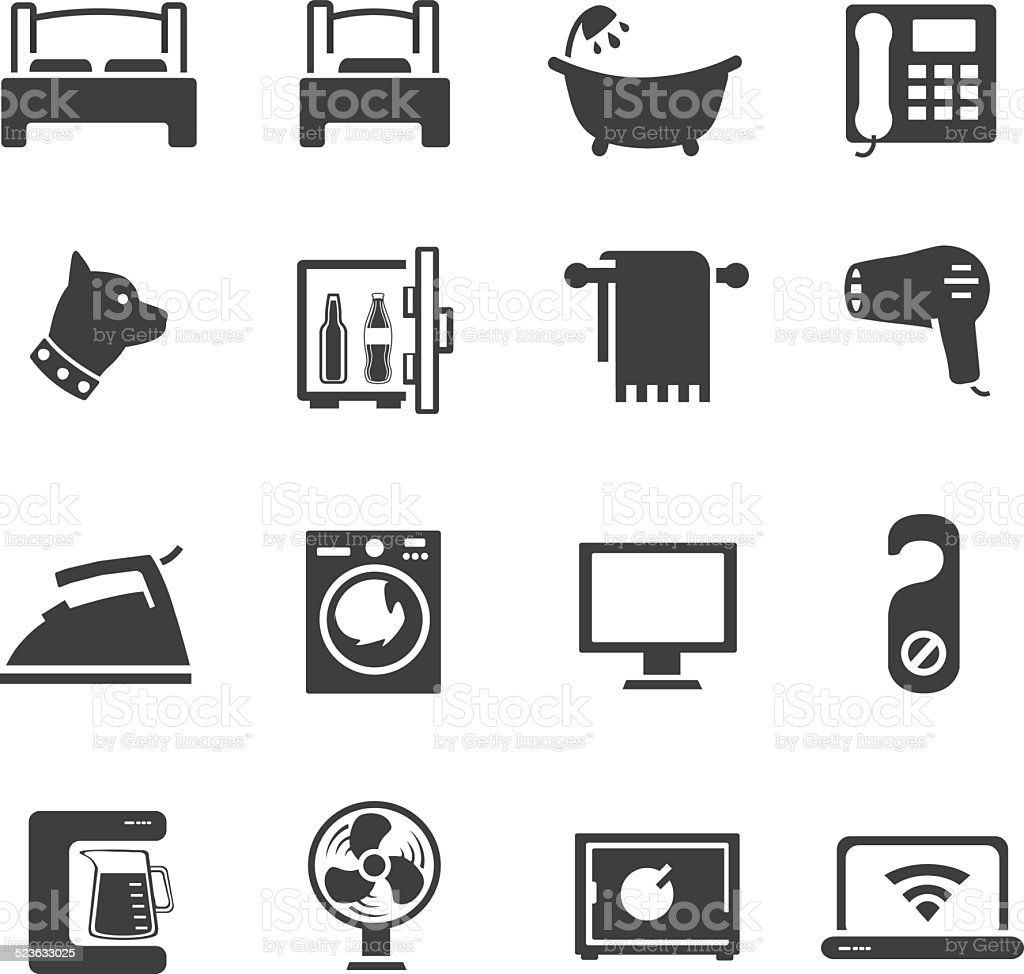 Hotel Room And Services Icon Set vector art illustration