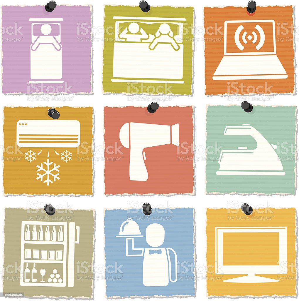 Hotel Room Icons royalty-free stock vector art