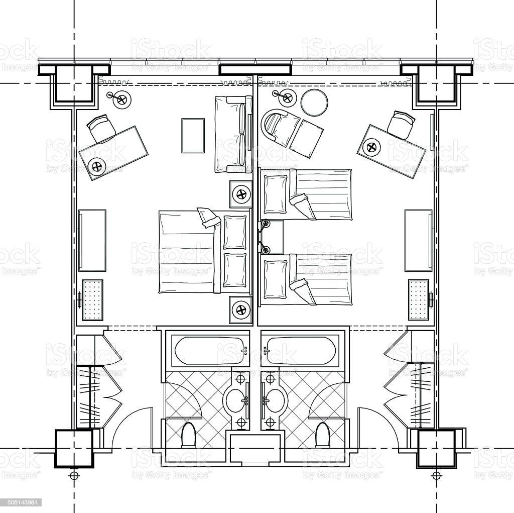 hotel room plan vector art illustration