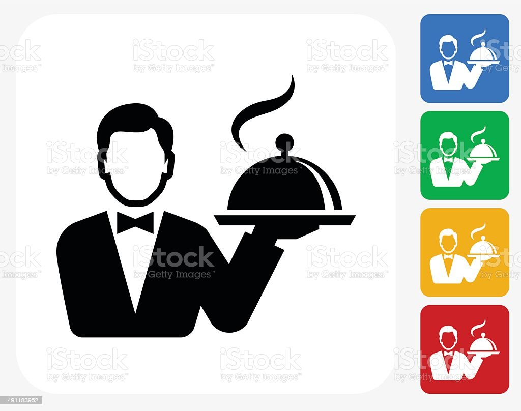 Hotel Room Service Icon Flat Graphic Design vector art illustration