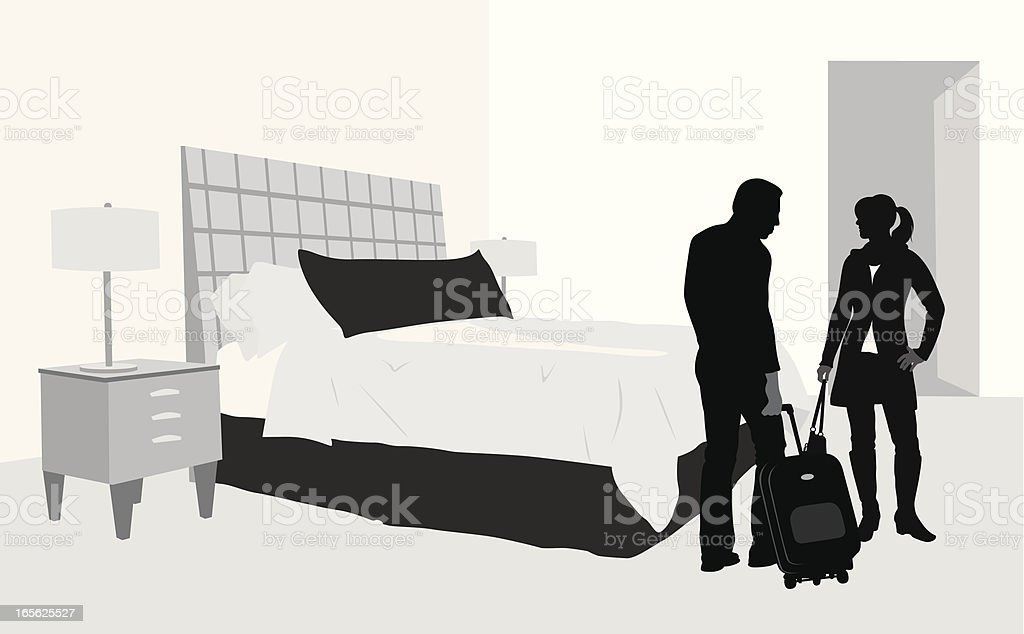 Hotel Room Vector Silhouette royalty-free stock vector art