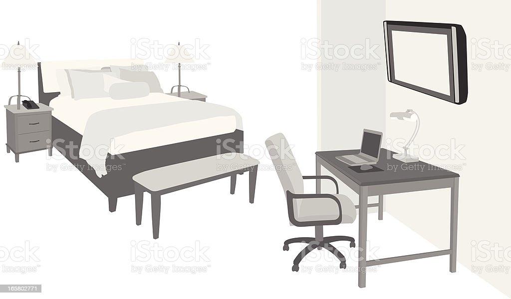 Hotel Room Vector Silhouette vector art illustration