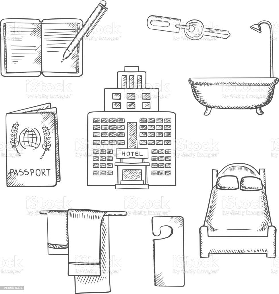 Hotel service concept sketch design icons vector art illustration