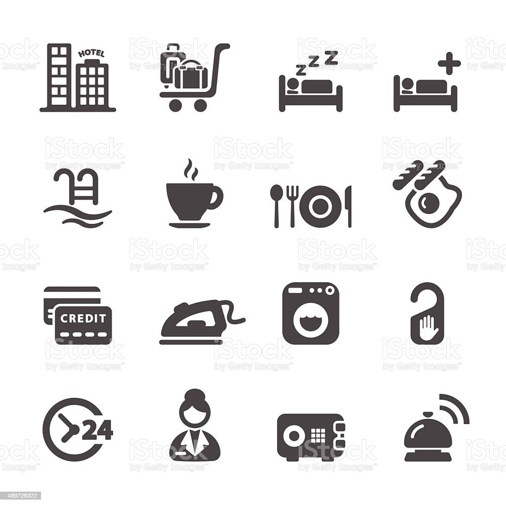 hotel service icon set 8, vector eps10 vector art illustration
