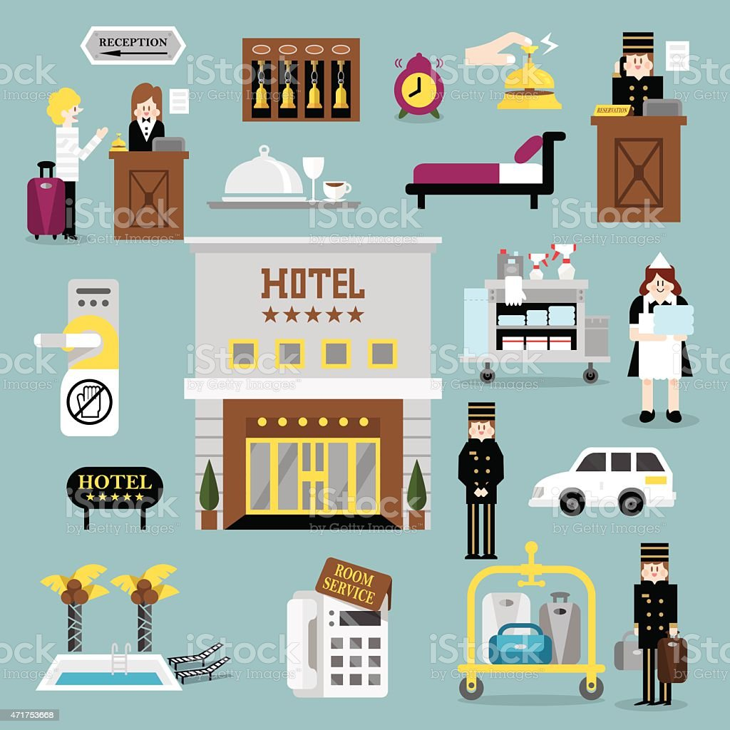 Hotel service set A vector art illustration