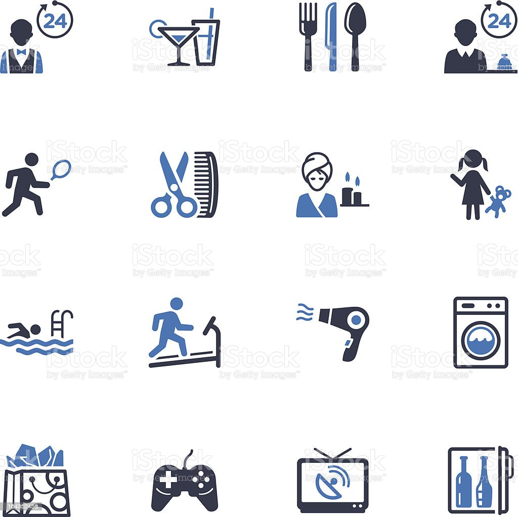 Hotel Services and Facilities Icons, Set 2 - Blue Series royalty-free stock vector art
