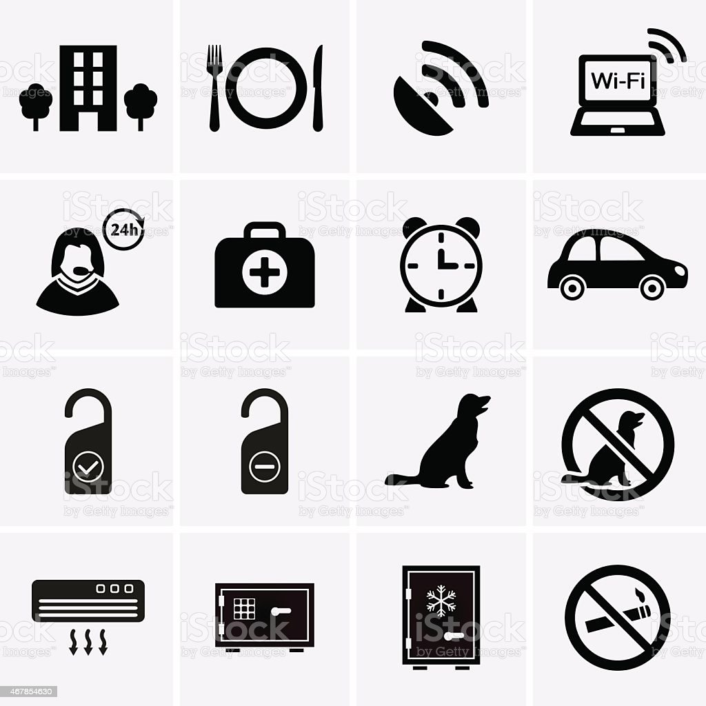 Hotel Services and Facilities Icons. Set 2. vector art illustration