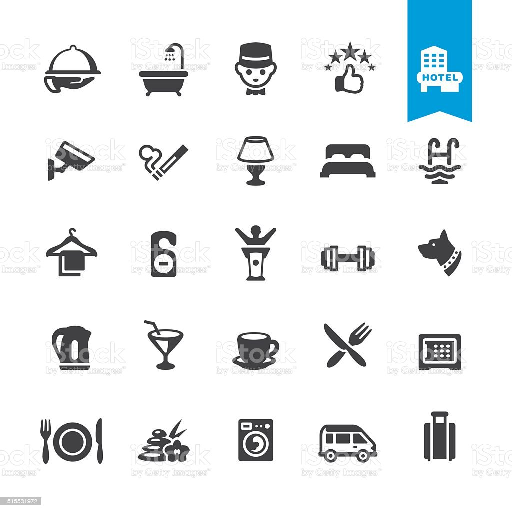 Hotel Services & Facilities vector icons vector art illustration