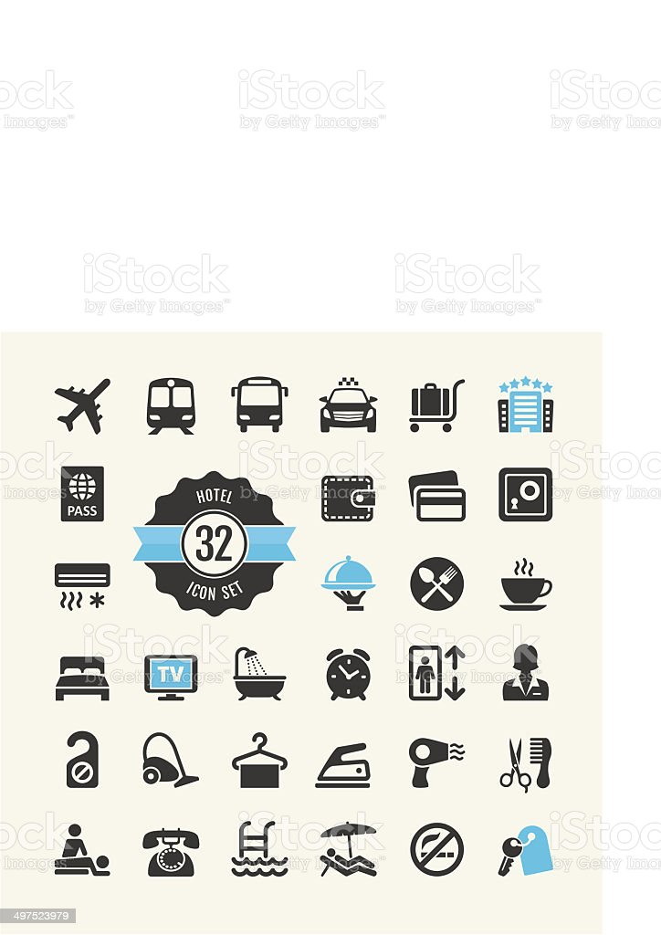 Hotel services icon set vector art illustration