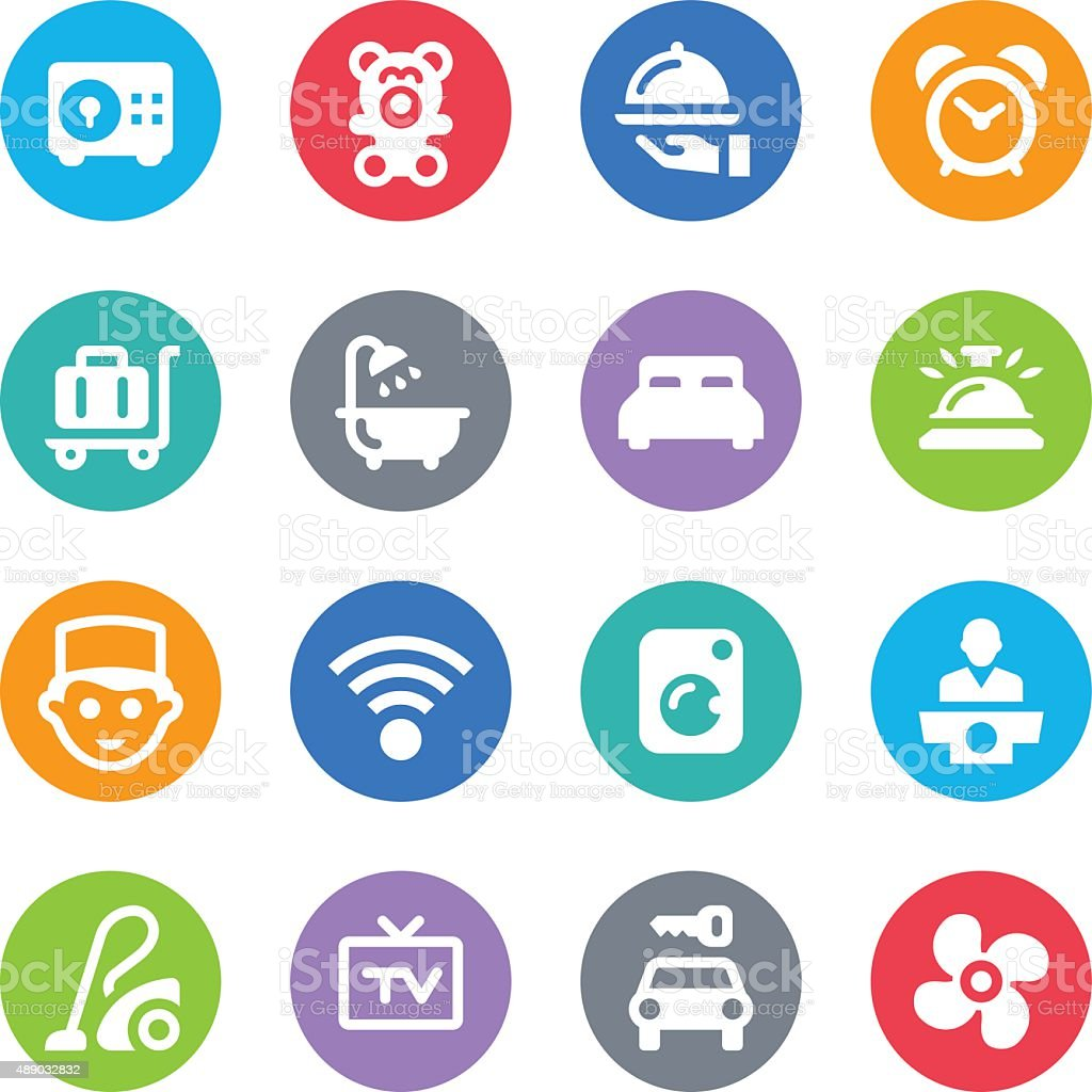 Hotel Services Icons - Circle vector art illustration