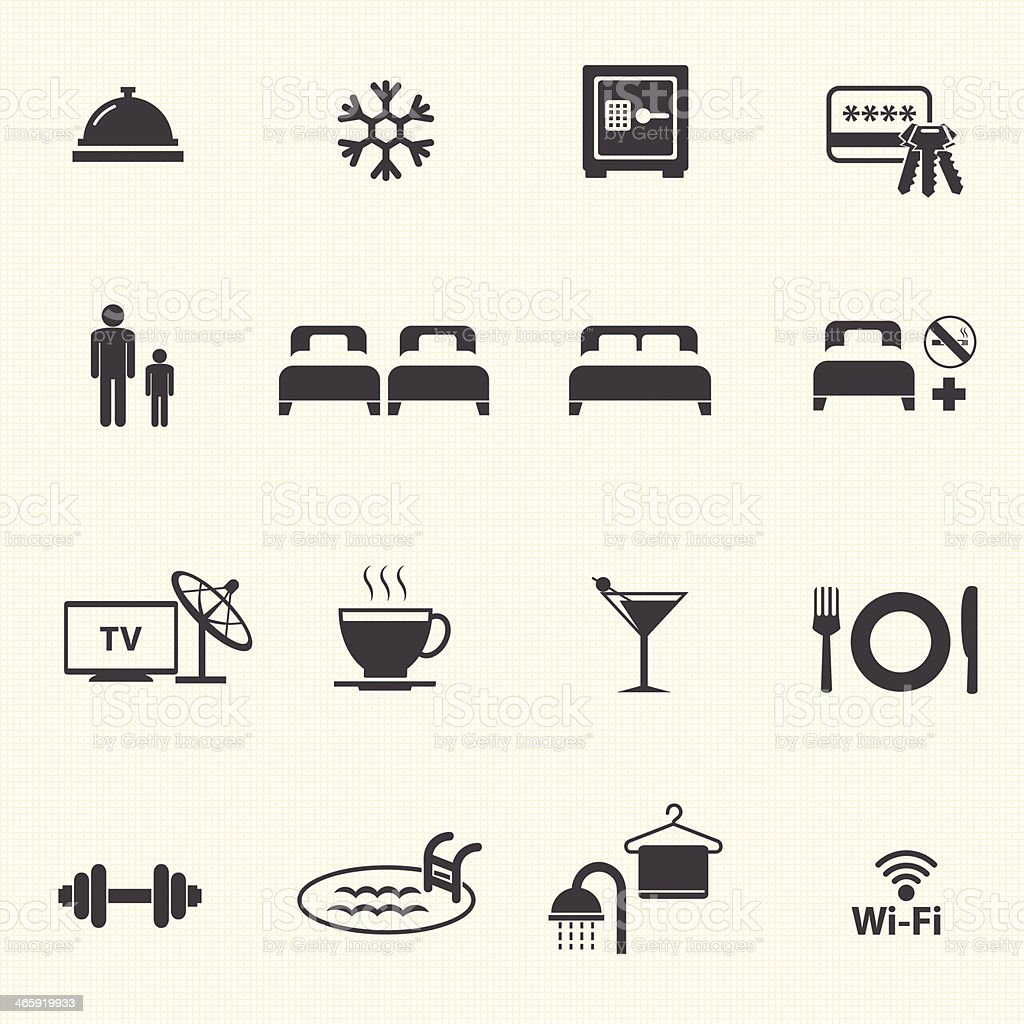Hotel Services Icons set. vector art illustration