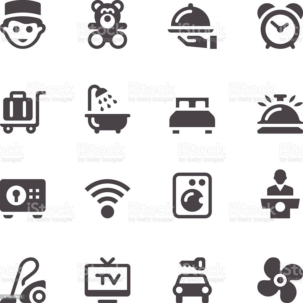 Hotel Services Icons vector art illustration