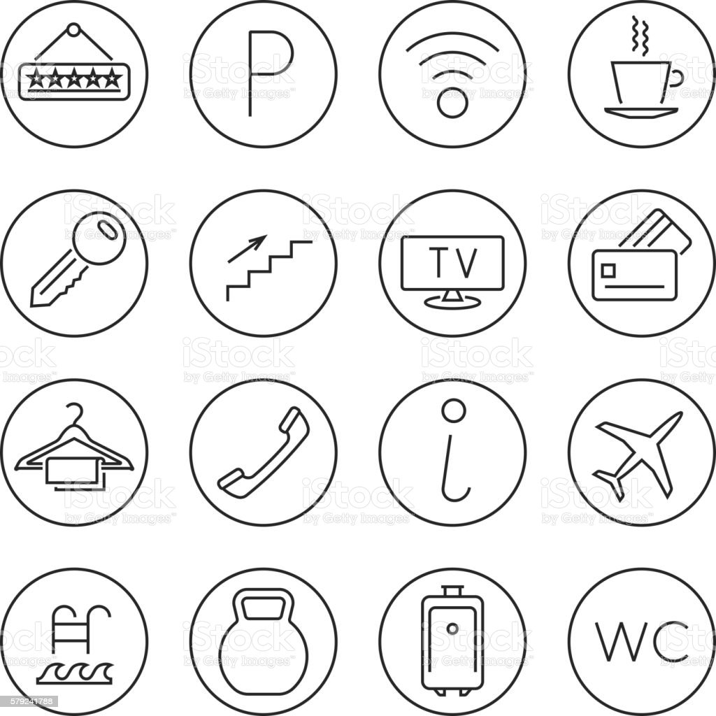 Hotel services line thin vector icons set vector art illustration