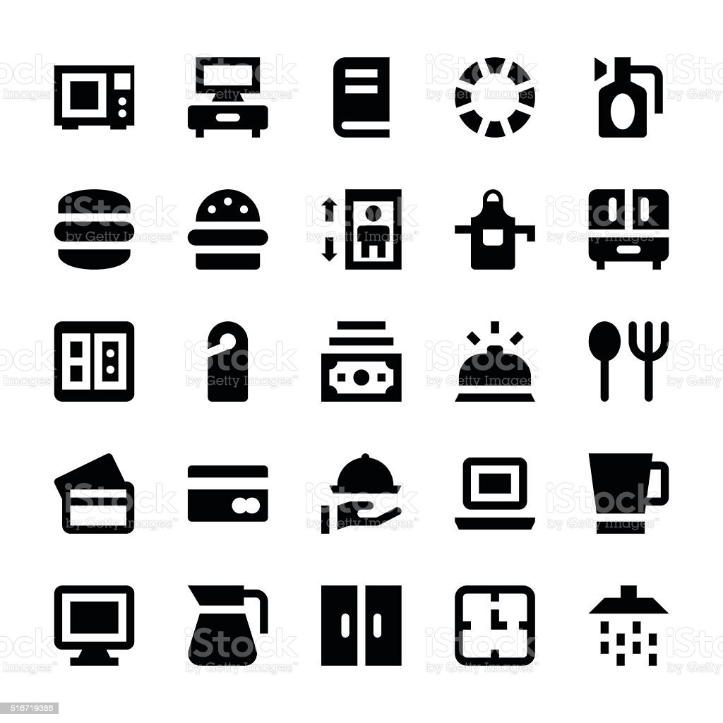 Hotel Services Vector Icons 3 vector art illustration