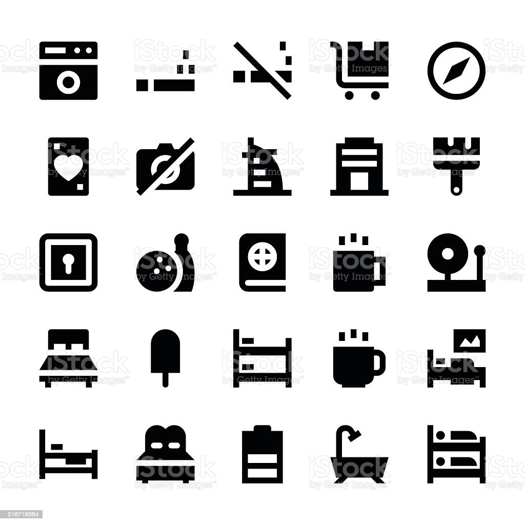 Hotel Services Vector Icons 4 vector art illustration