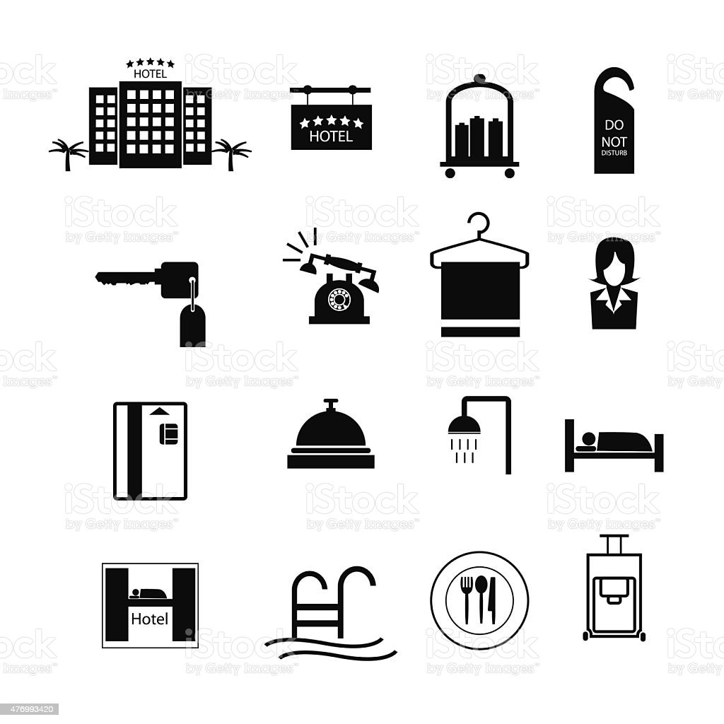 Hotel sign icons vector vector art illustration
