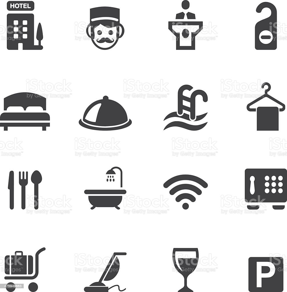 Hotel Silhouette icons 1 vector art illustration
