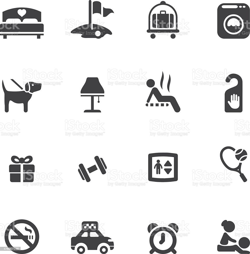 Hotel Silhouette icons 2 vector art illustration