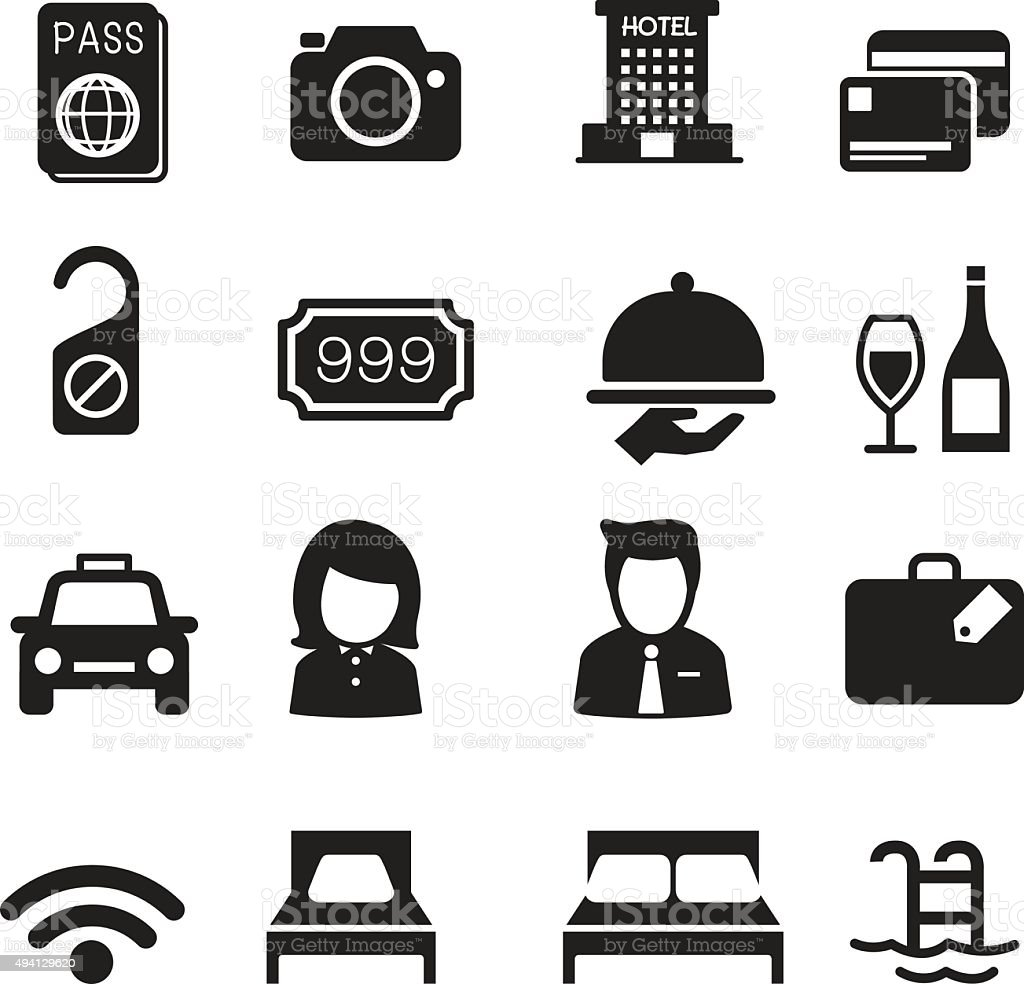 Hotel silhouette icons Set vector art illustration