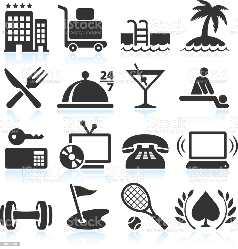 Hotel Vacation Accommodation black & white vector icon set royalty-free stock vector art