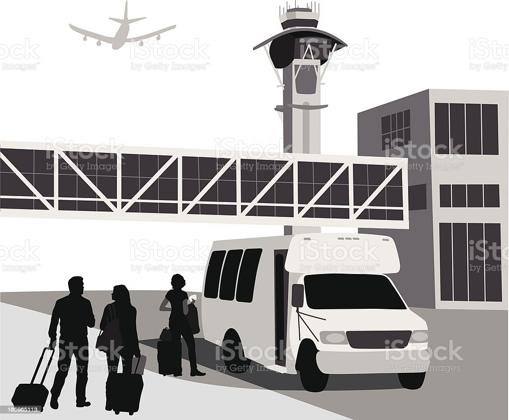 Hotel'n Airport Vector Silhouette vector art illustration
