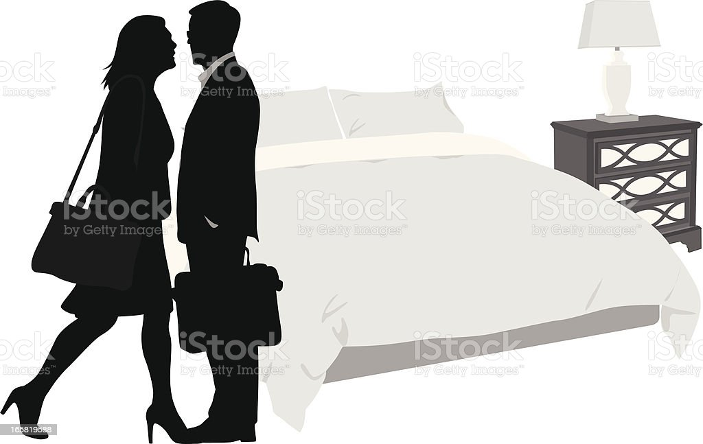 Hotel'n Couple Vector Silhouette royalty-free stock vector art