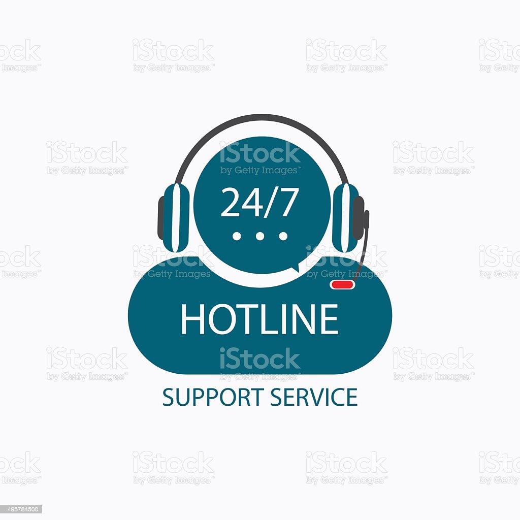 Hotline support icon. vector art illustration