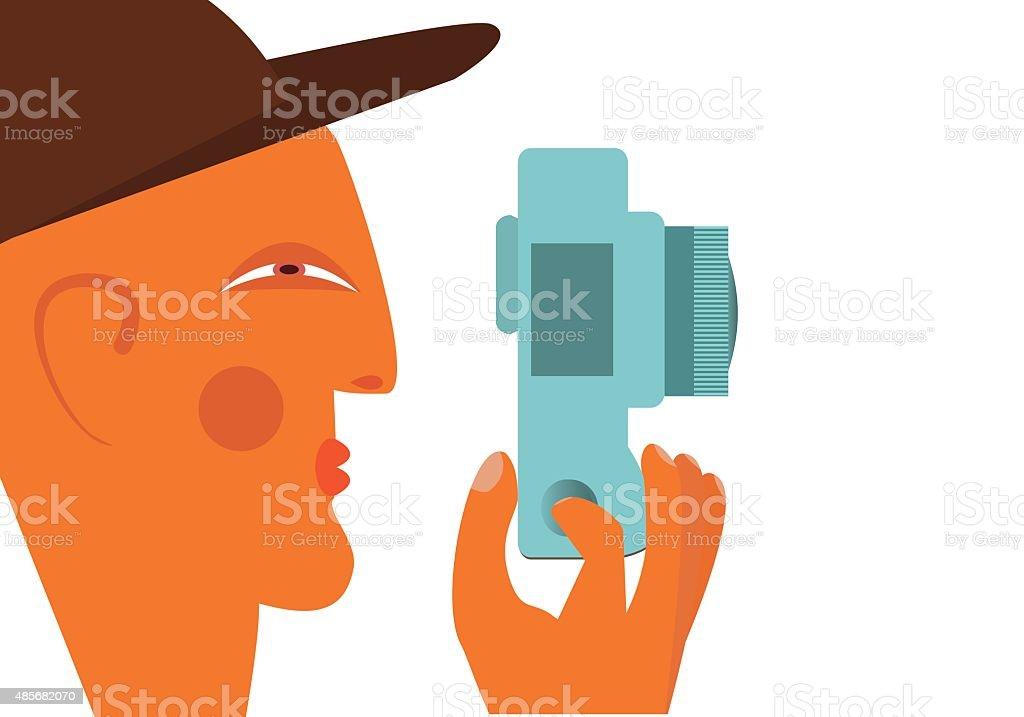 hotography concept.Male photographer profile with camera flat illustration vector art illustration