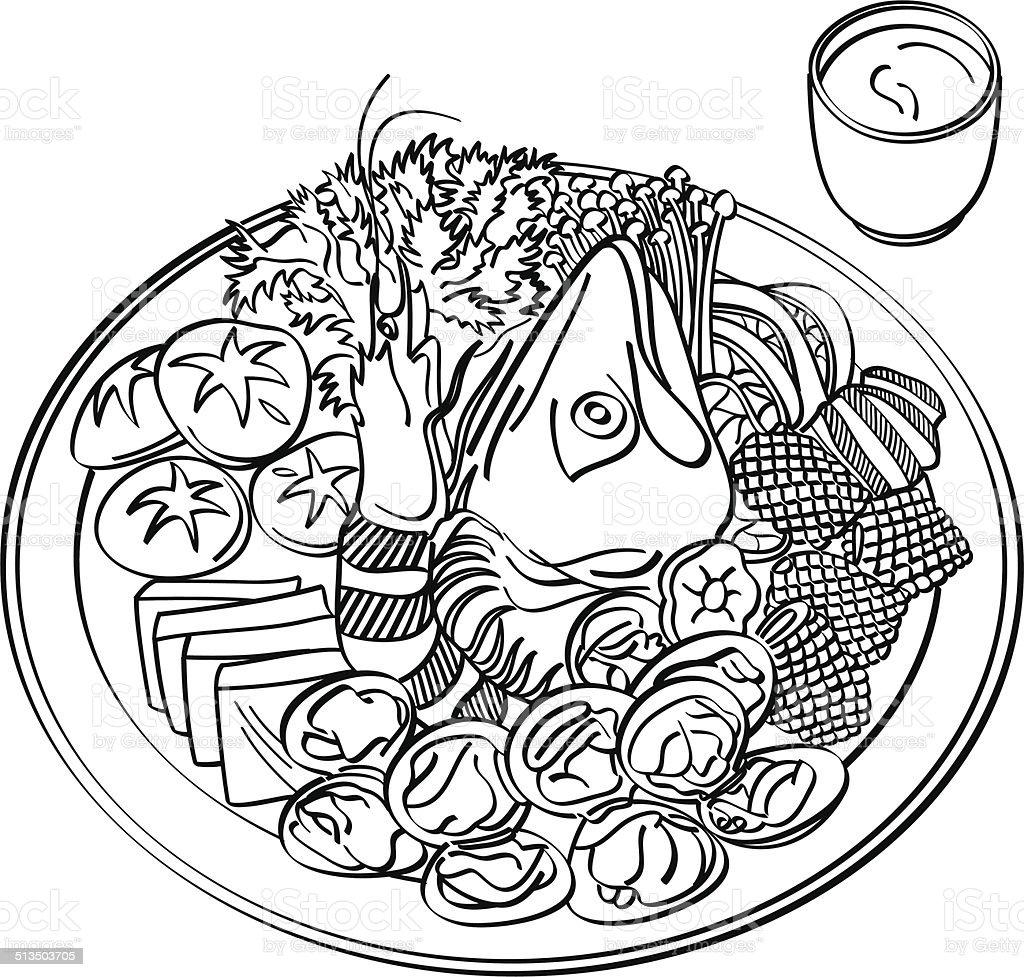 Hotpot Food vector art illustration