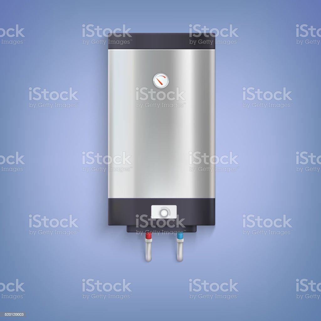 Hot-water tank, chrome plated vector art illustration