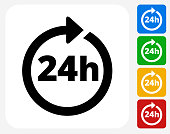 24 Hour Service Icon Flat Graphic Design