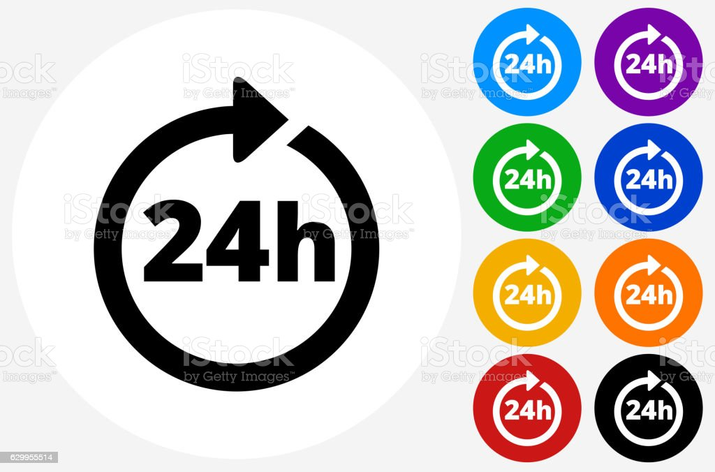24 Hour Service Icon on Flat Color Circle Buttons vector art illustration