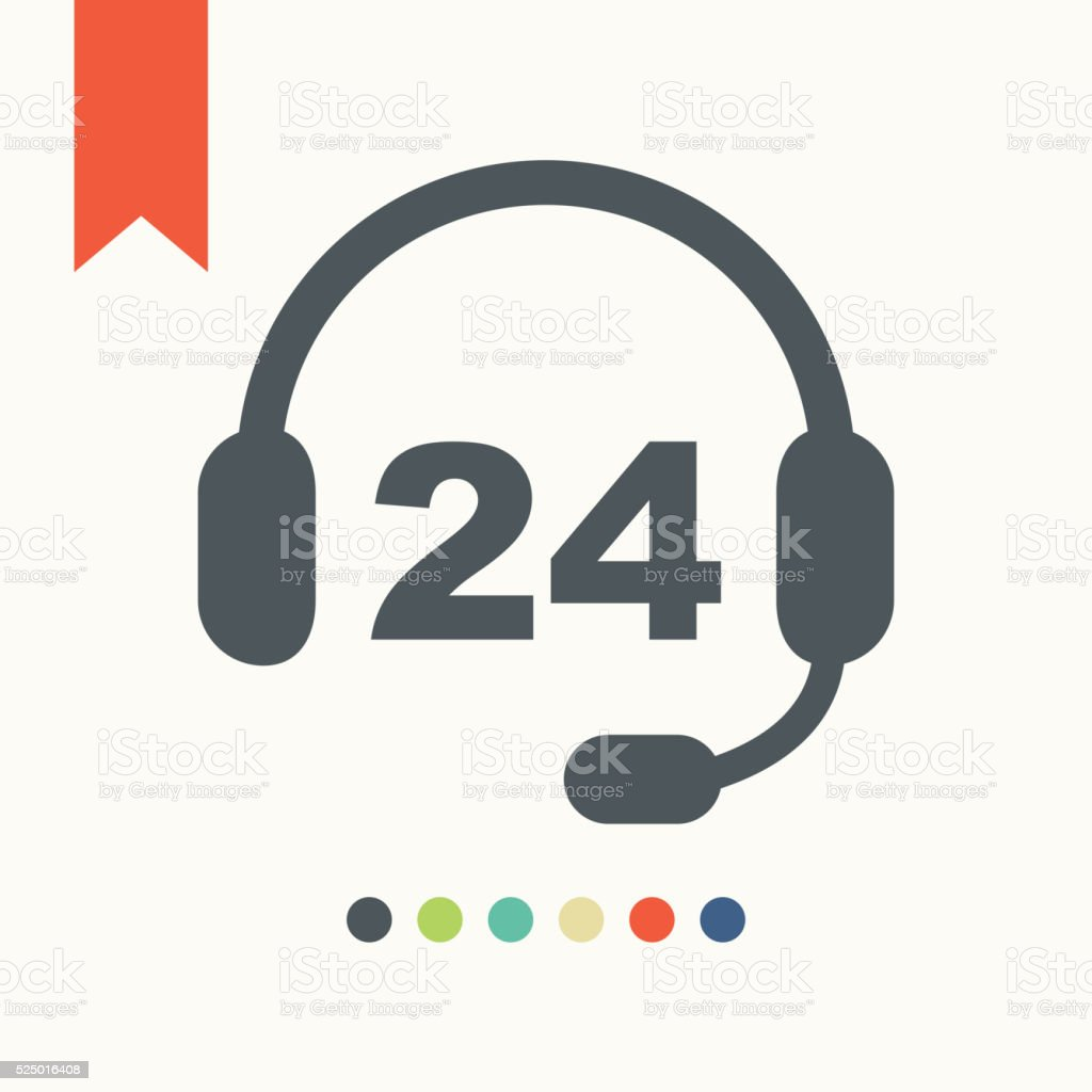24 hour service icon vector art illustration