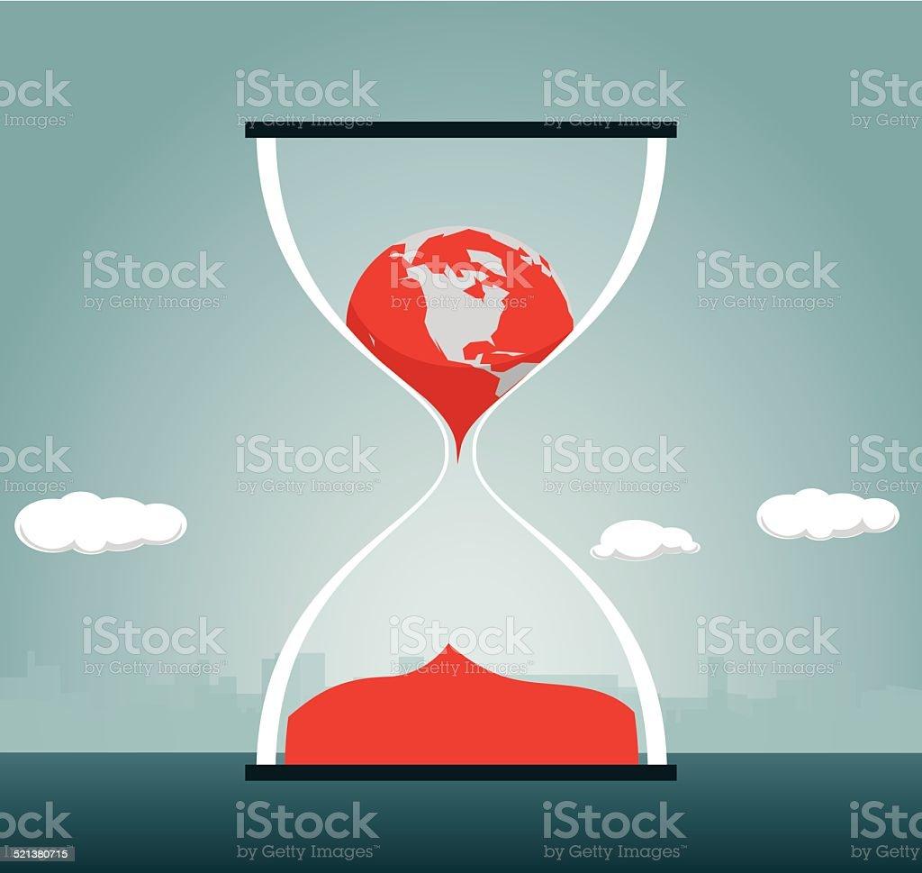 Hourglass, Change, Globe, Clock, Time, Earth, Melting vector art illustration