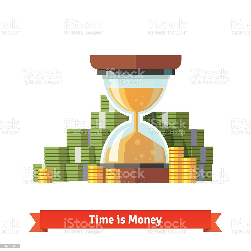 Hourglass in a pile of stacked dollar and coin vector art illustration