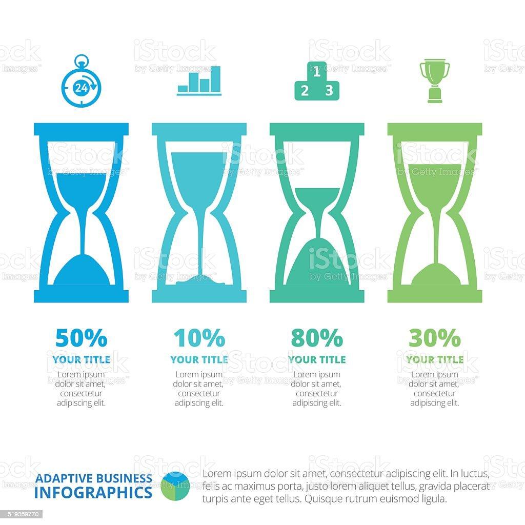 Hourglass Infographic Diagram Template vector art illustration