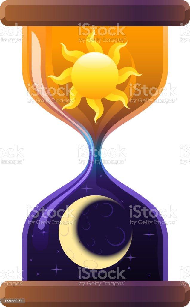 Hourglass Sun & Moon Sandglass Sand Clock royalty-free stock vector art