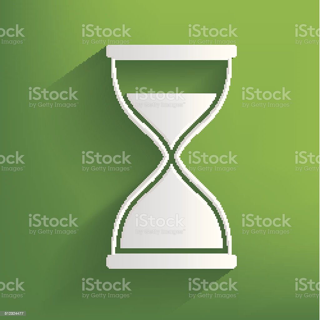 Hourglass symbol on green background,clean vector vector art illustration