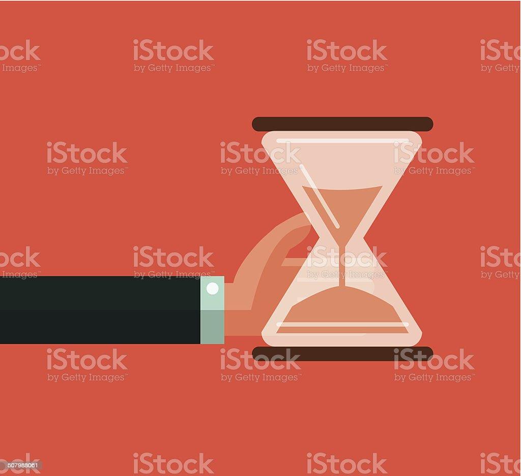 Hourglass timer concept for business deadline and leadership. vector art illustration