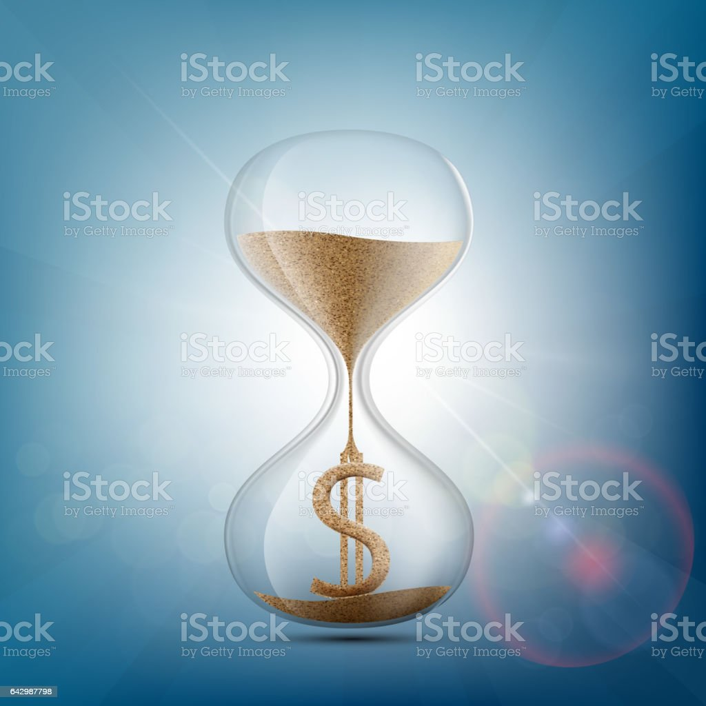 Hourglass with a dollar sign made of sand. vector art illustration