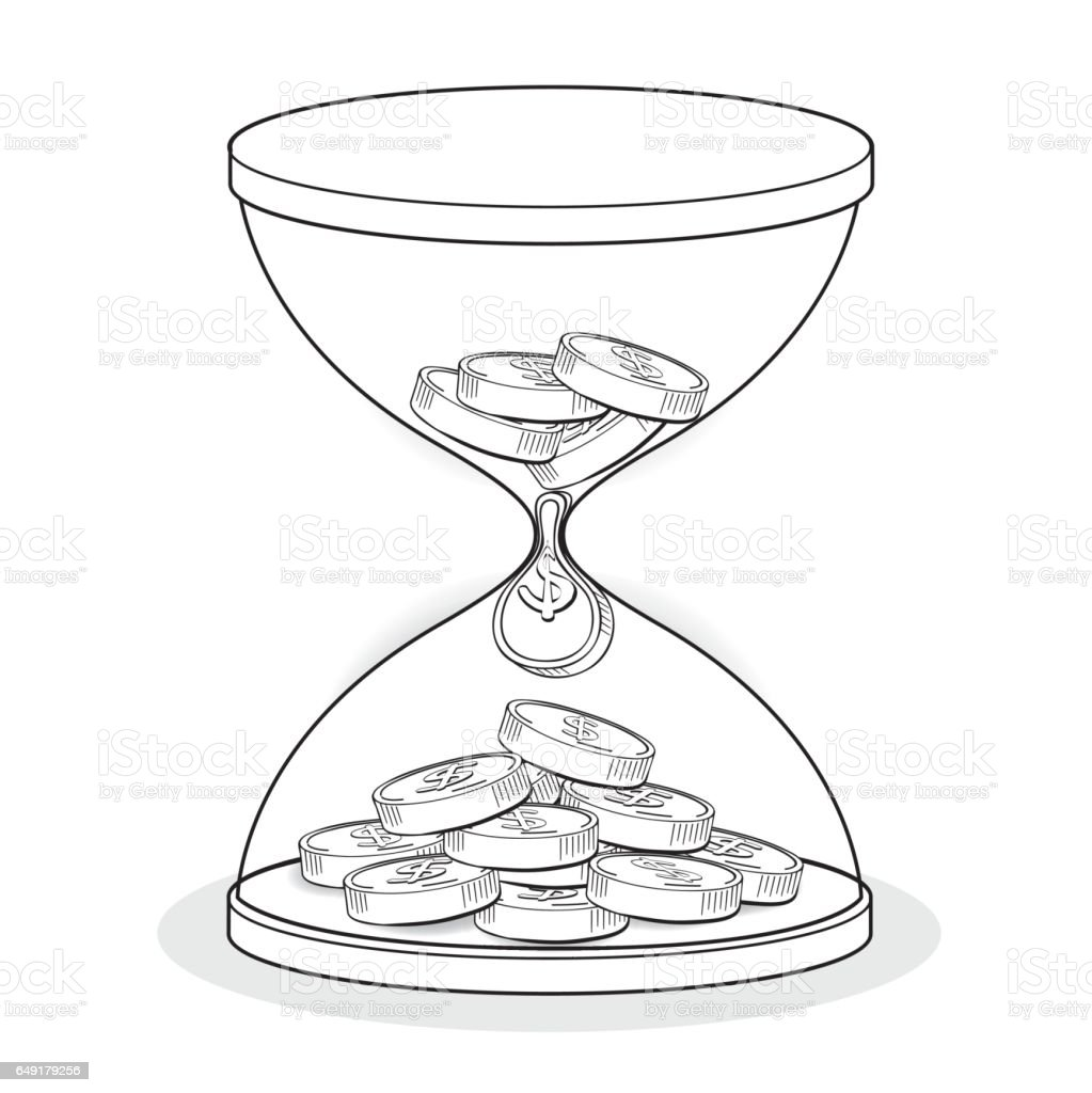 Hourglass drawing  Hourglass With Gold Coins Line Drawing Business Concept Vector ...