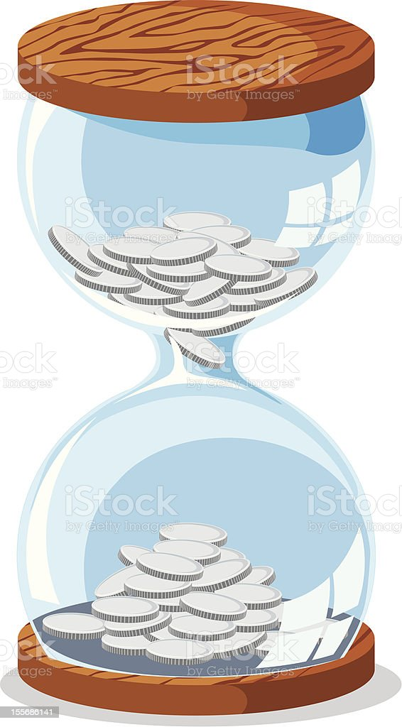 Hourglass with money royalty-free stock vector art