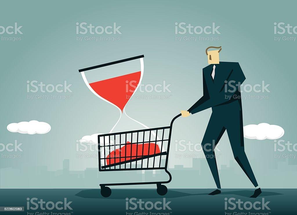 Hourglass,Shopping Cart, E-commerce,Clock, Crisis, Push Cart vector art illustration