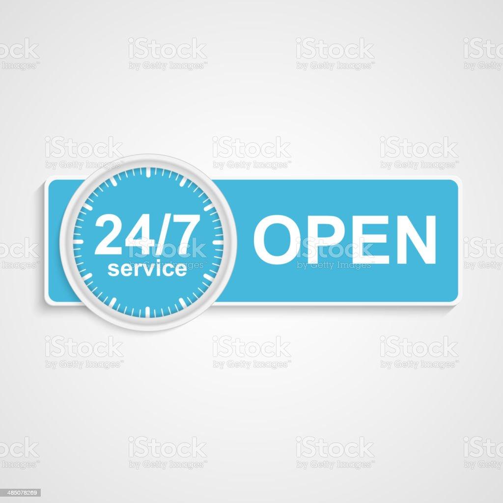24 hours 7 days customer service icon. vector art illustration