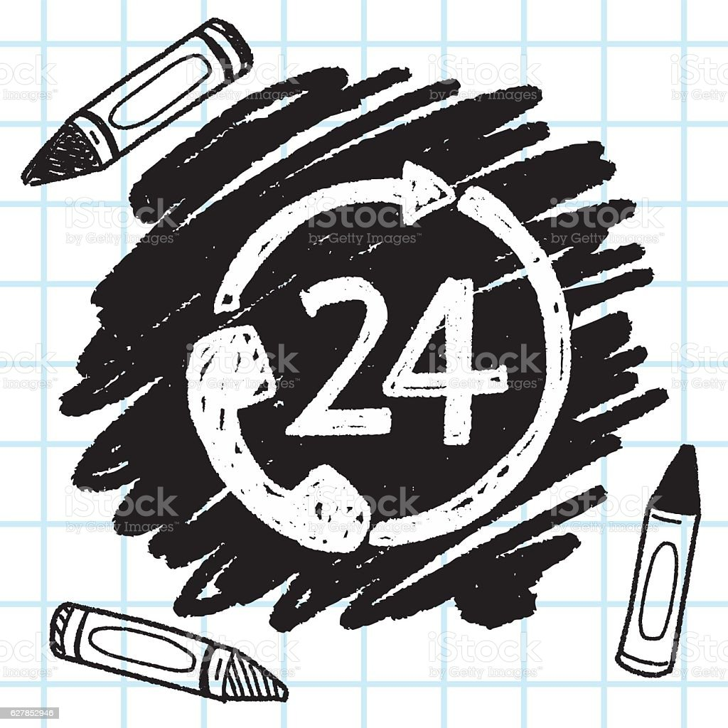 24 hours customer service doodle drawing vector art illustration