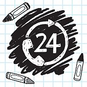 24 hours customer service doodle drawing