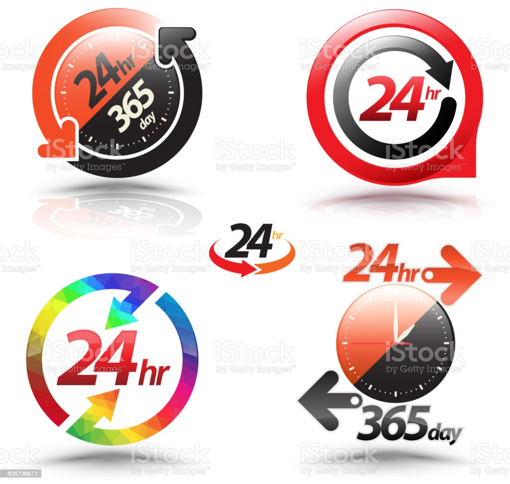 24 hours open customer service collection. vector art illustration