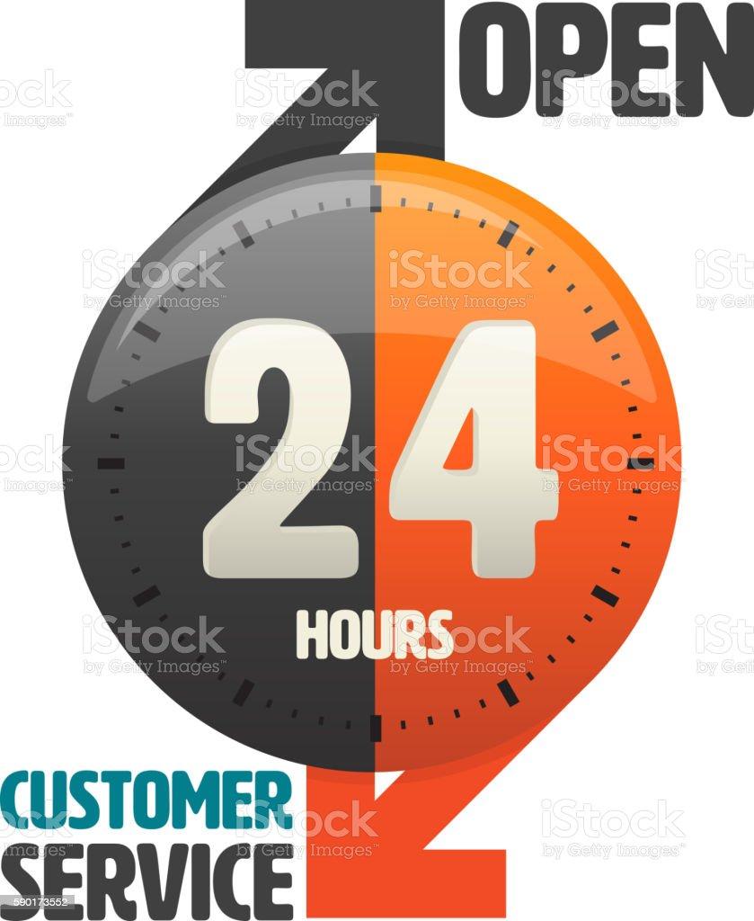 24 hours open customer service icon. vector art illustration