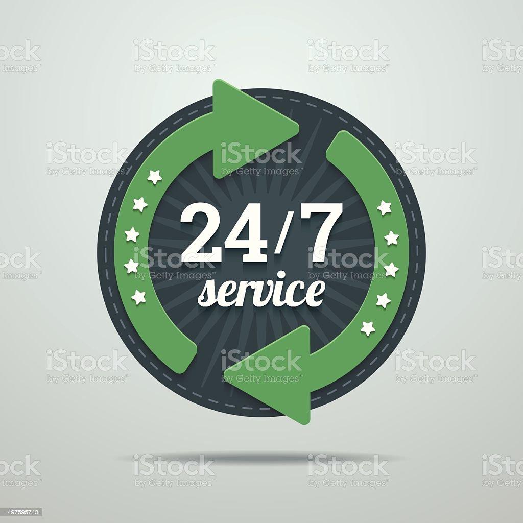 24/7 hours service sign. vector art illustration