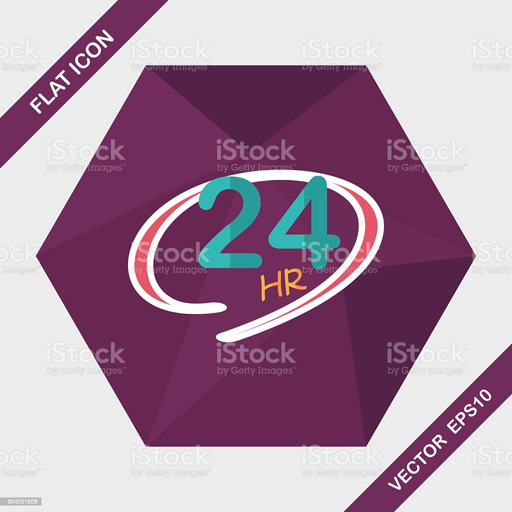 24 hours shop open flat icon with long shadow,eps10 vector art illustration
